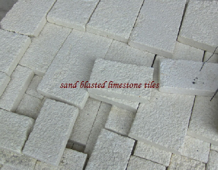 Sand Blasted white limestone tiles