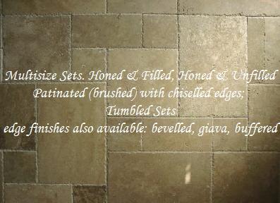 Ivory Travertine Mini Versailles Pattern Tumbled Tile